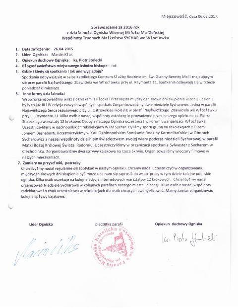 2016 Sprawozdanie za OWMM WTM Sychar Włocławek